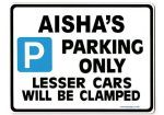 AISHA'S Personalised Parking Sign Gift | Unique Car Present for Her |  Size Large - Metal faced